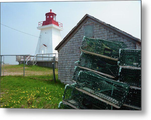 A Canadian Coastguard Lighthouse, Neils Metal Print