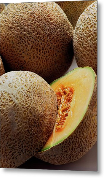 A Cantaloupe Sliced In Half Metal Print