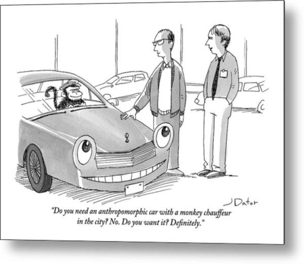 A Car Salesman Gives A Pitch To A Prospective Metal Print
