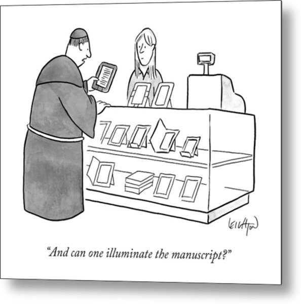 A Monk Asking About An E-reader Metal Print