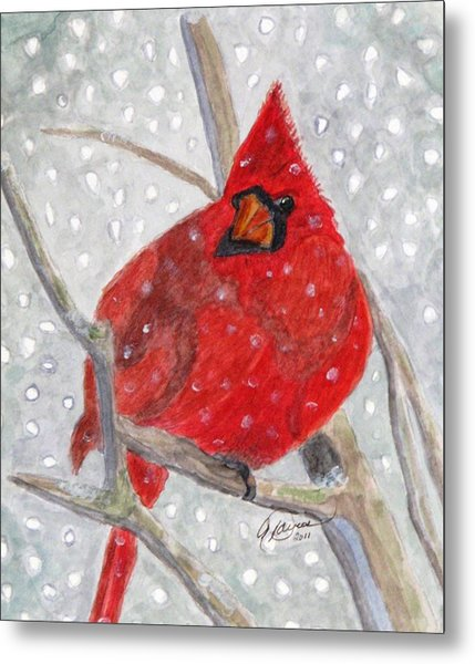 A Cardinal Winter Metal Print