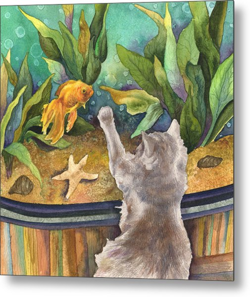 A Cat And A Fish Tank Metal Print