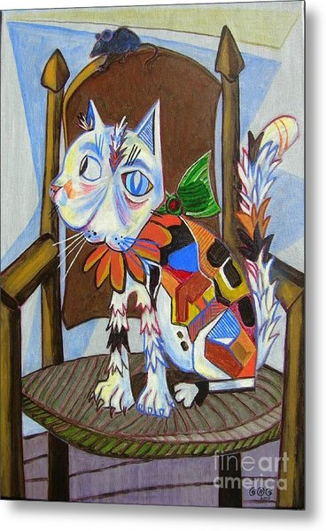 A Cat For Picasso_ Chat Et Souris Metal Print