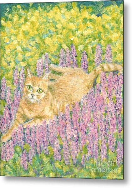 A Cat Lying On Floral Mat Metal Print