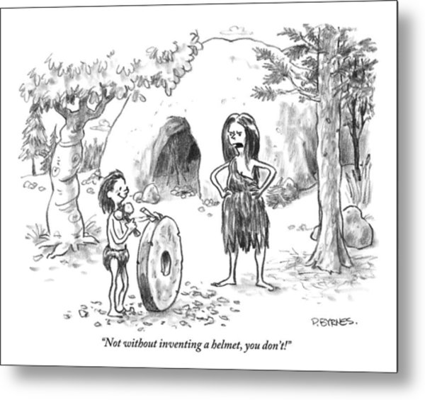 A Cave Woman Addresses Her Son Metal Print