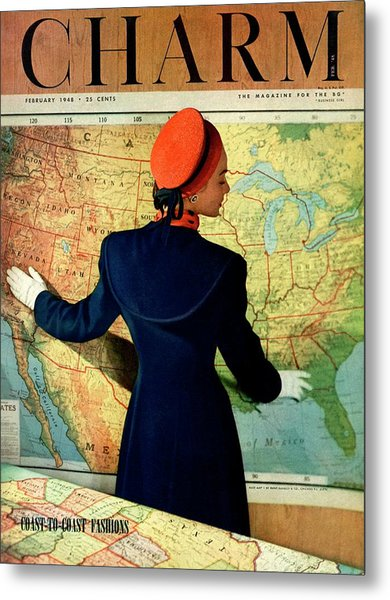 A Charm Cover Of A Model By An American Map Metal Print by Hal Reiff