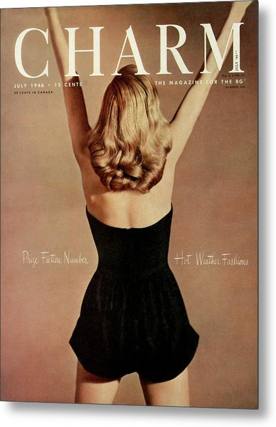 A Charm Cover Of A Model Wearing A Romper Metal Print