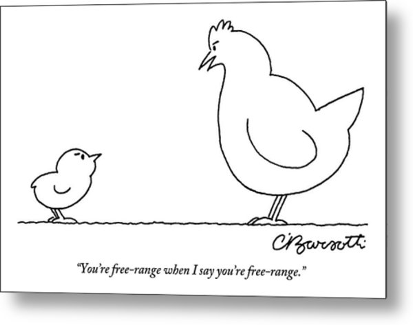 A Chicken Tells Her Baby Chick Metal Print