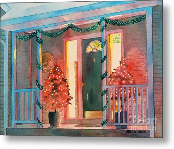 A Christmas At Home, House Prints, Porch Prints, House Paintings, House Prints, Christmas Paintings, Metal Print