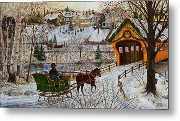 A Christmas Sleigh Ride Metal Print