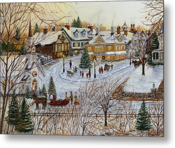 A Christmas Village Metal Print