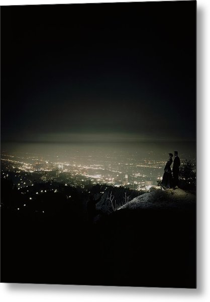 A City At Night Metal Print by Constantin Joffe