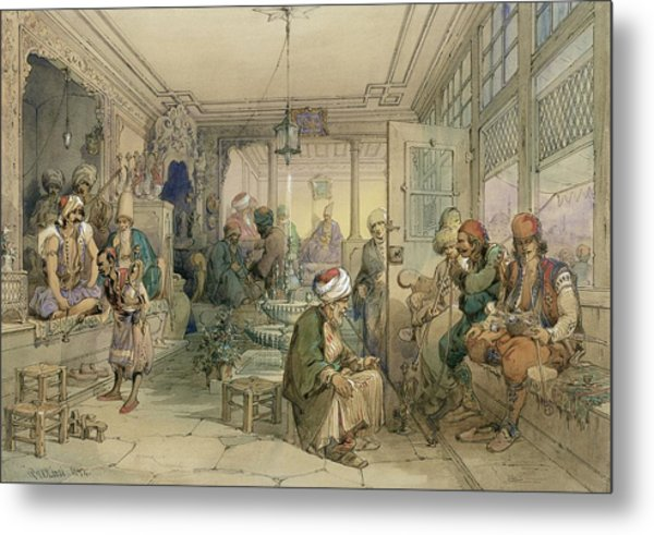 A Coffee House, Constantinople, 1854 Metal Print