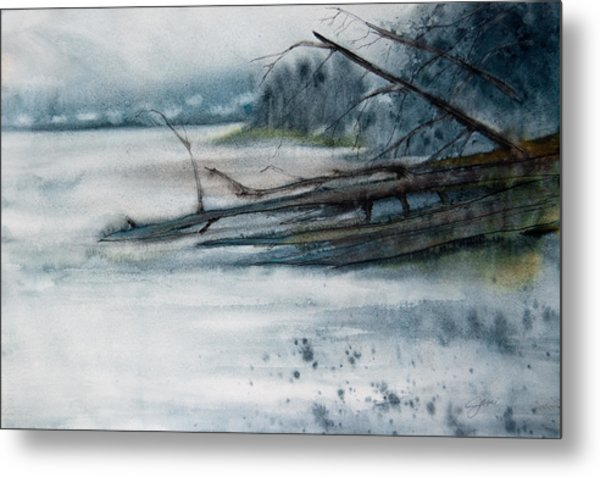Metal Print featuring the painting A Cold And Foggy View by Jani Freimann