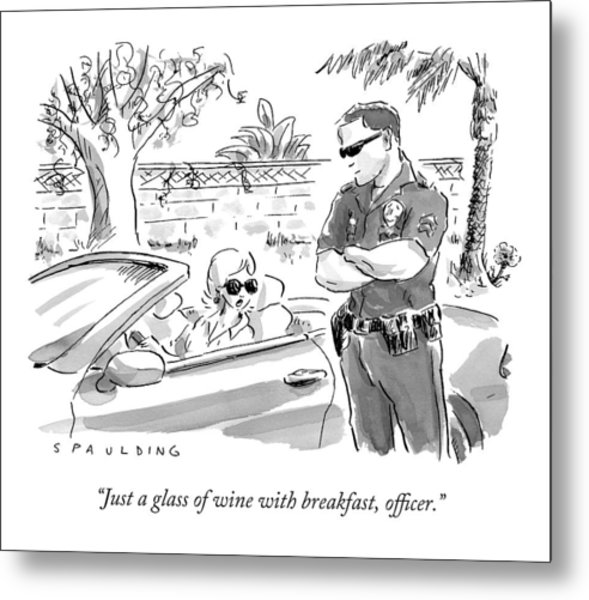 A Cop Pulling Over A Pretty Blonde Woman Metal Print