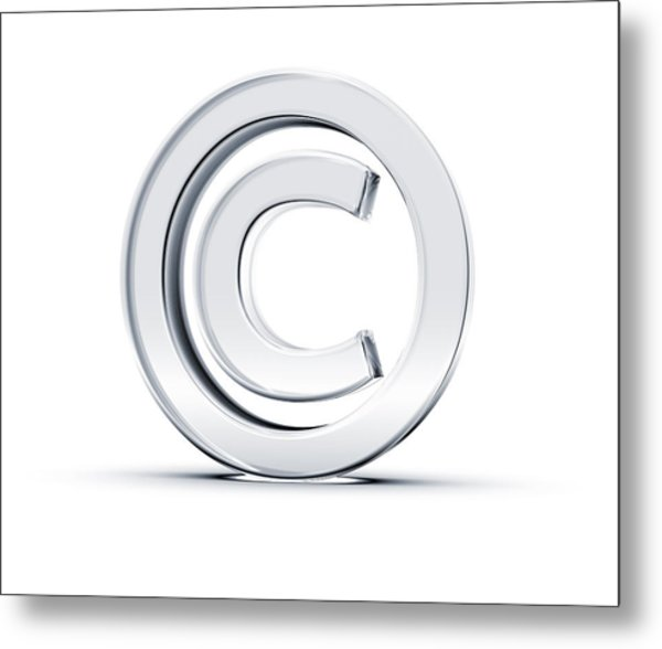 A Copyright Symbol In 3d On A White Background Metal Print by Hometowncd