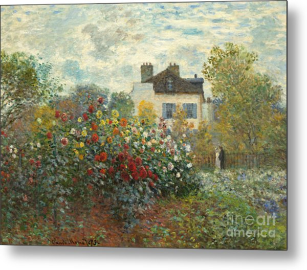A Corner Of The Garden With Dahlias Metal Print
