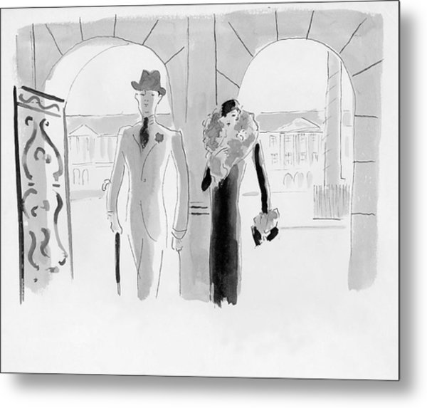 A Couple At The Ritz Hotel Metal Print