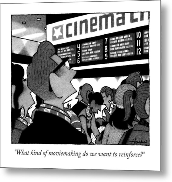A Couple Looking At The Marquee Of Movies Showing Metal Print