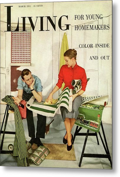 A Couple Looking At Wall Paper Metal Print