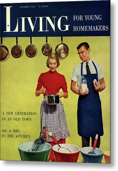A Couple Standing Next To Ekco Products Cooking Metal Print