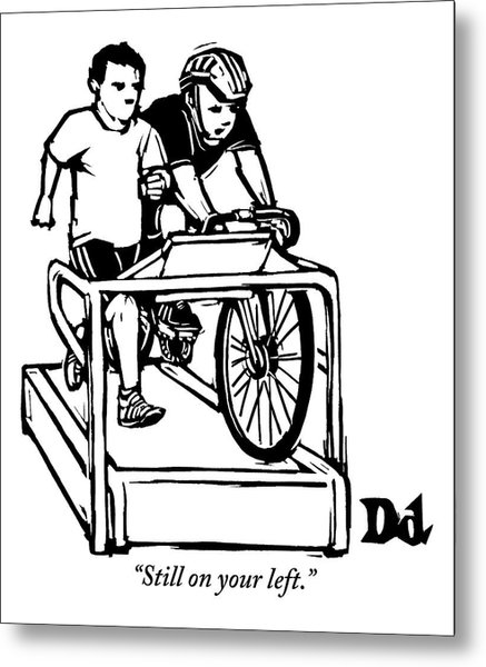 A Cyclist Says To A Jogger. They Are Both Metal Print