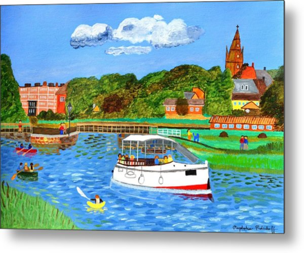 A Day On The River In Exeter Metal Print