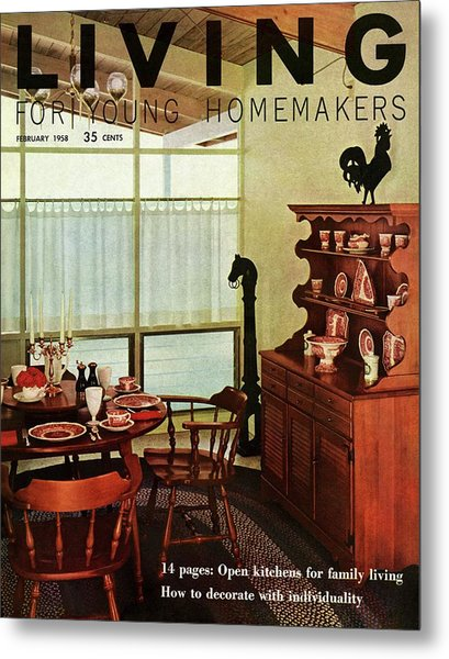 A Dining Room With Furniture By Ethan Allen Metal Print by Ernest Silva