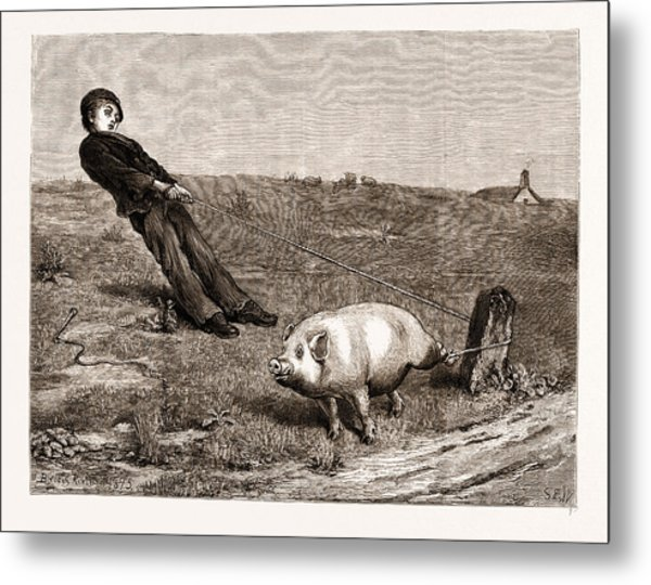 A Double Entendre, From The Painting By Briton Riviere Metal Print