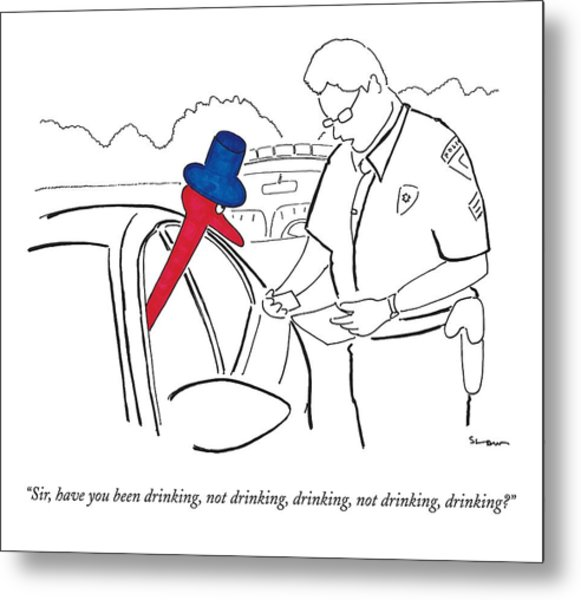 A Drinking Bird Toy Is Pulled Over By A Policeman Metal Print