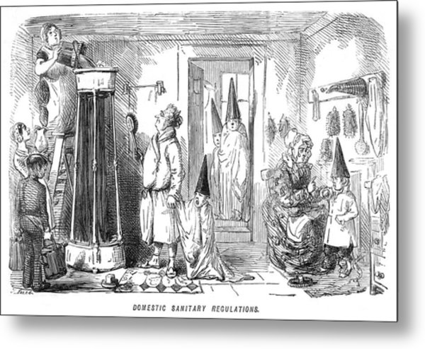 A Family Prepare To Partake Of  A Shower Metal Print by Mary Evans Picture Library