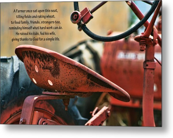 A Farmer And His Tractor Poem Metal Print