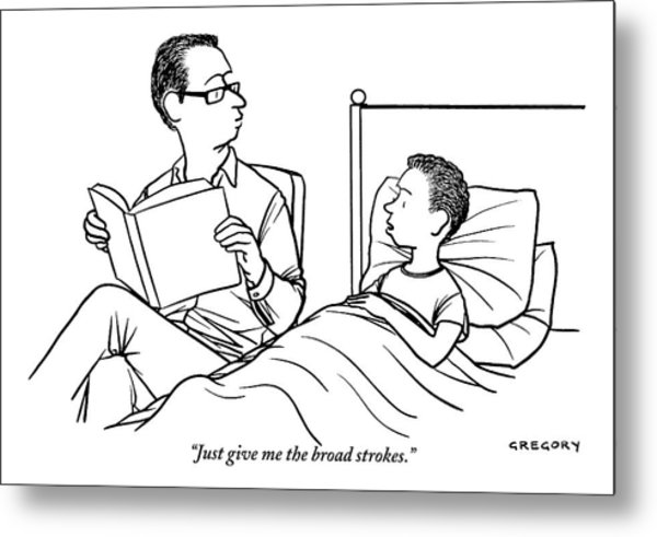 A Father Is Seen Reading A Book To His Son Who Metal Print