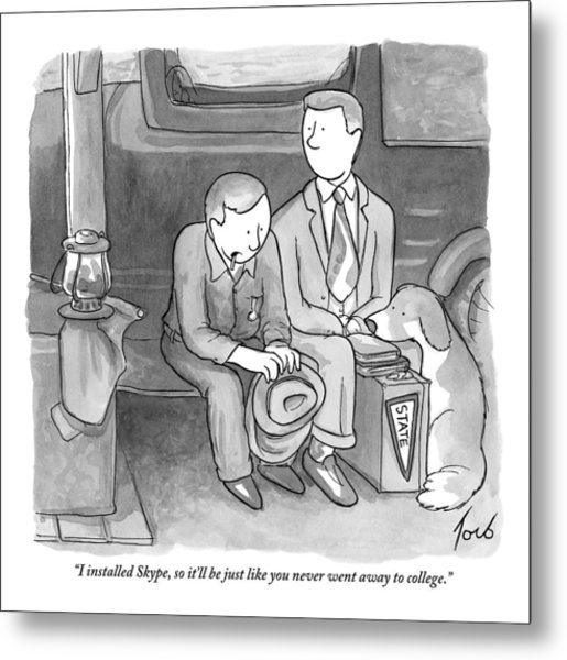 A Father Speaks To His Son Who Is Leaving Home Metal Print