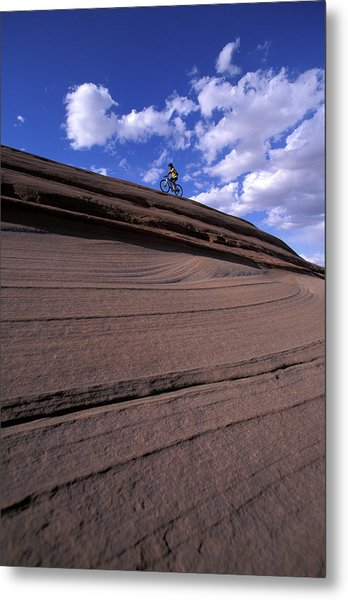 A Female Mountain Biker Mountain Biking Metal Print