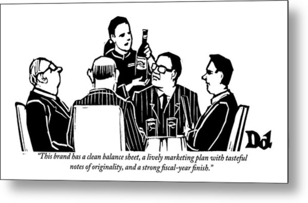A Female Sommelier Presents A Bottle Of Wine Metal Print