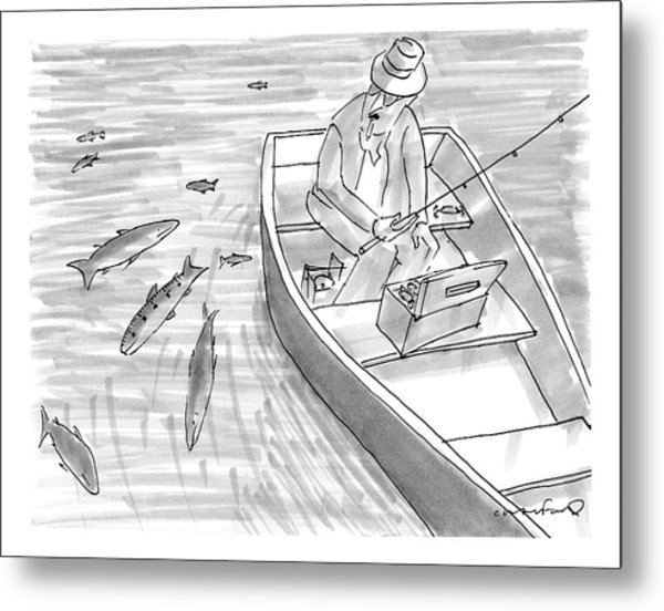 A Fisherman On A Rowboat Looks At The Fish Metal Print