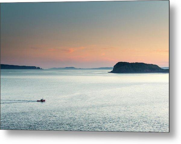 A Fishing Boat Cruises Through Flat Metal Print