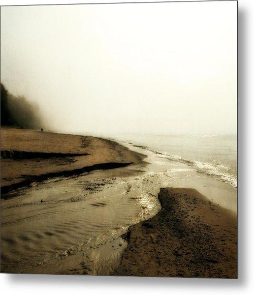 A Foggy Day At Pier Cove Beach Metal Print