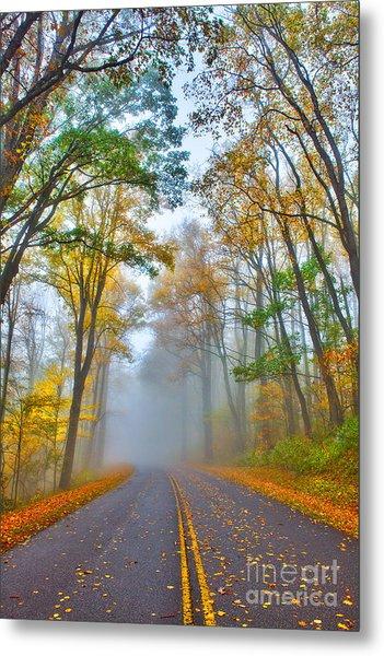 A Foggy Drive Into Autumn - Blue Ridge Parkway Metal Print