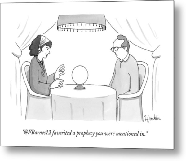 A Fortune-teller Looks Into A Crystal Ball Metal Print