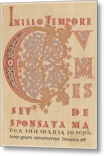 A Fragment Of Sintram's Evangelium Metal Print by Mary Evans Picture Library