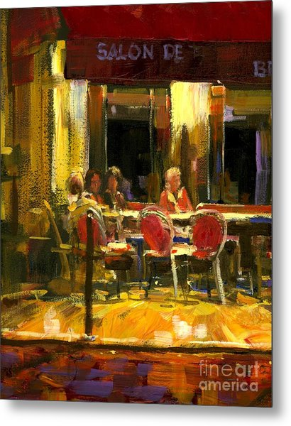 A French Cafe And Friends Metal Print by Michael Swanson
