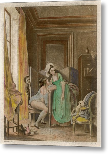 A French Lady Uses Her Bidet  But Metal Print by Mary Evans Picture Library