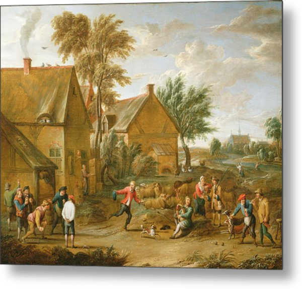 A Game Of Bowls By A Tavern Metal Print