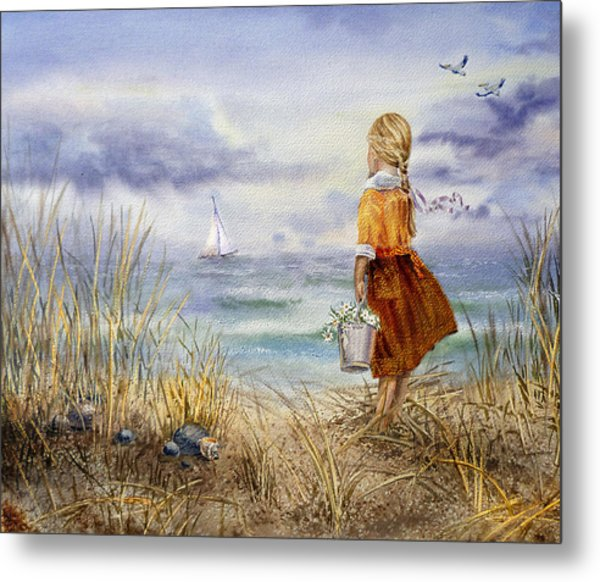 A Girl And The Ocean Metal Print