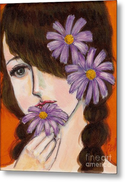 A Girl With Daisies Metal Print