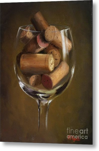 A Glass Of Cork Metal Print