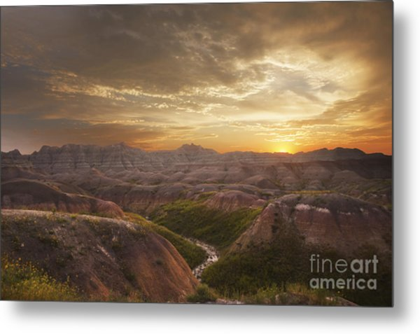 A Good Sunrise In The Badlands Metal Print