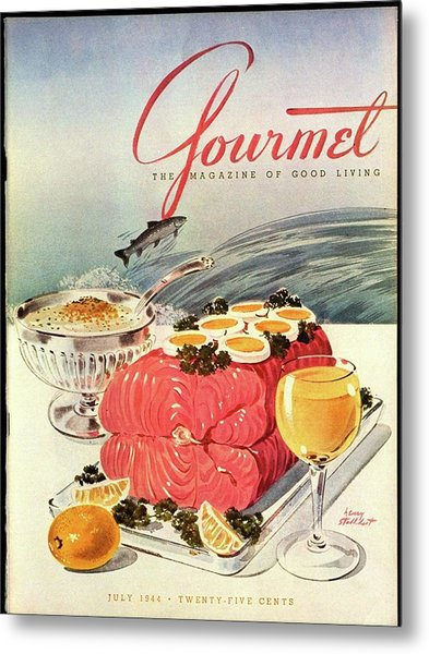 A Gourmet Cover Of Poached Salmon Metal Print